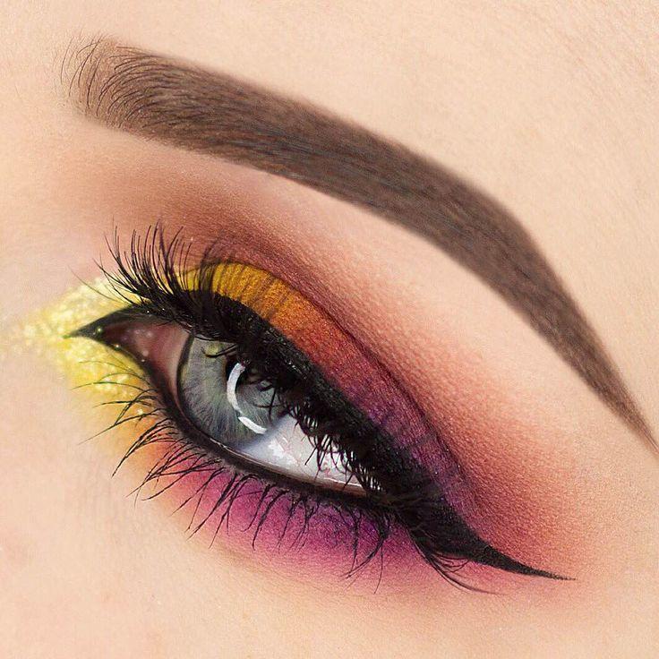 Makeup Geek Eyeshadows in Bitten, Chickadee, Lemon Drop, and Purple Rain. Look b...