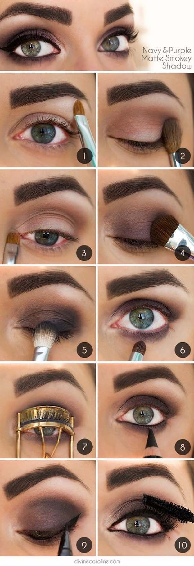 Makeup Tutorials for Green Eyes -Navy and Purple Matte Smokey Shadow -Easy Eyesh...