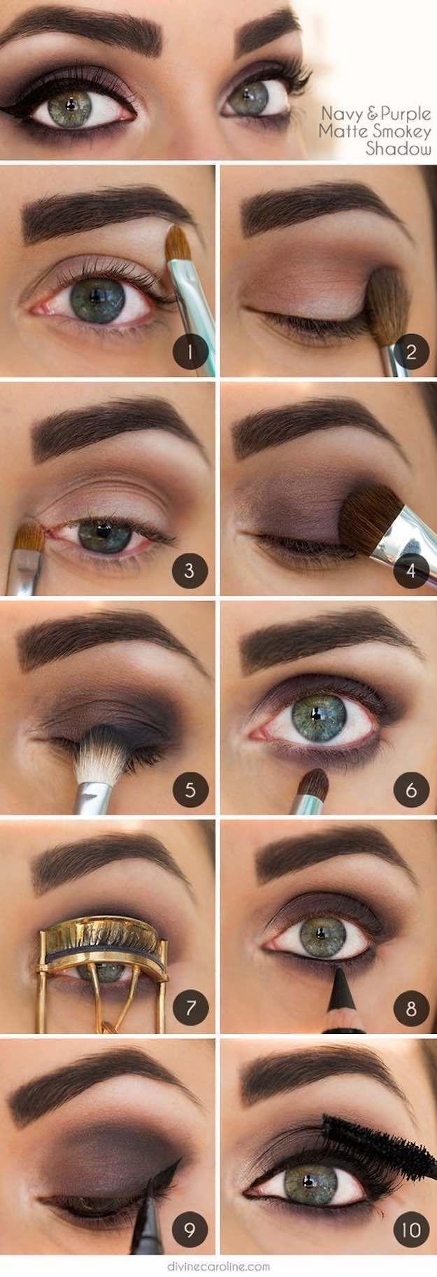Makeup Tutorials for Green Eyes -Navy & Purple Matte Smokey Shadow -Easy Eyeshad...