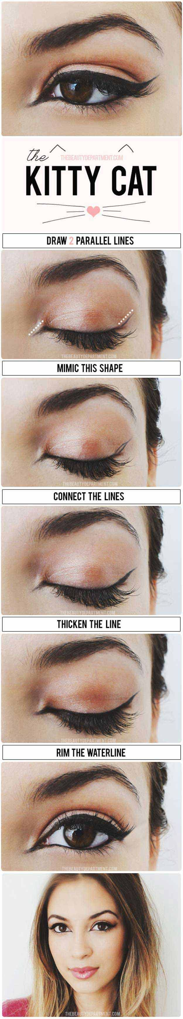 Makeup Tutorials for Picture Perfect Selfies - The Cat Eye Stylized - Tips, Idea...