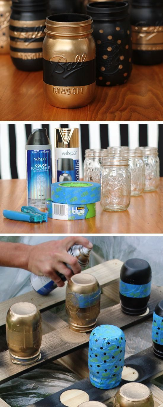 Painted Patterned Mason Jar Containers | 18 DIY Makeup Storage Ideas | Easy Orga...