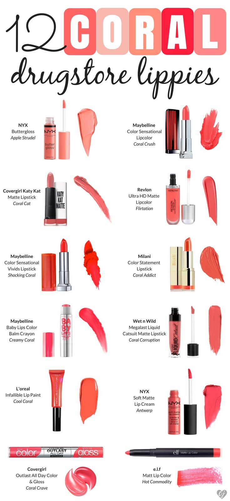 Top 12 Coral Drugstore Lip Products for spring and summer! Check out these affor...