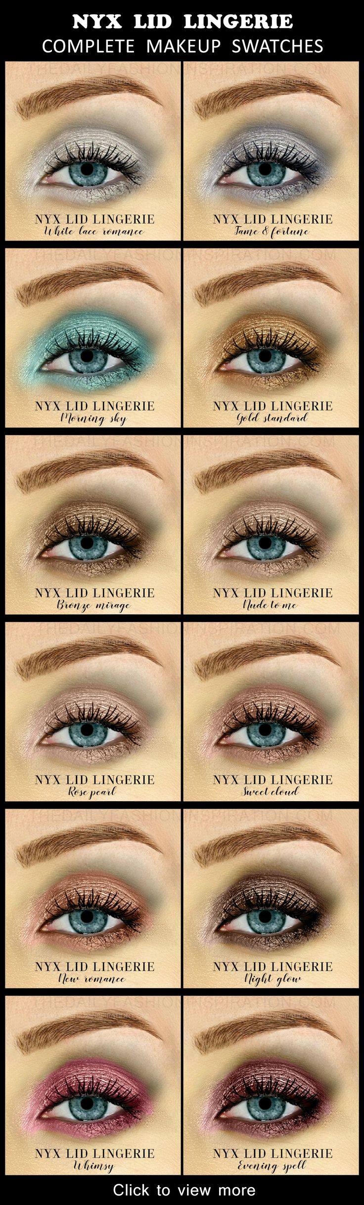 View all 12 swatches for the NYX lid lingerie collection. Shop them in the blog ...