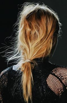 hair, messy, low ponytail