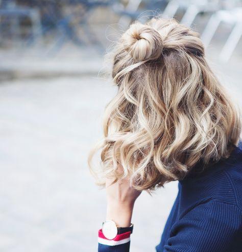 Half bun easy hairstyle