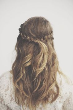 Half up, plaited back with curls
