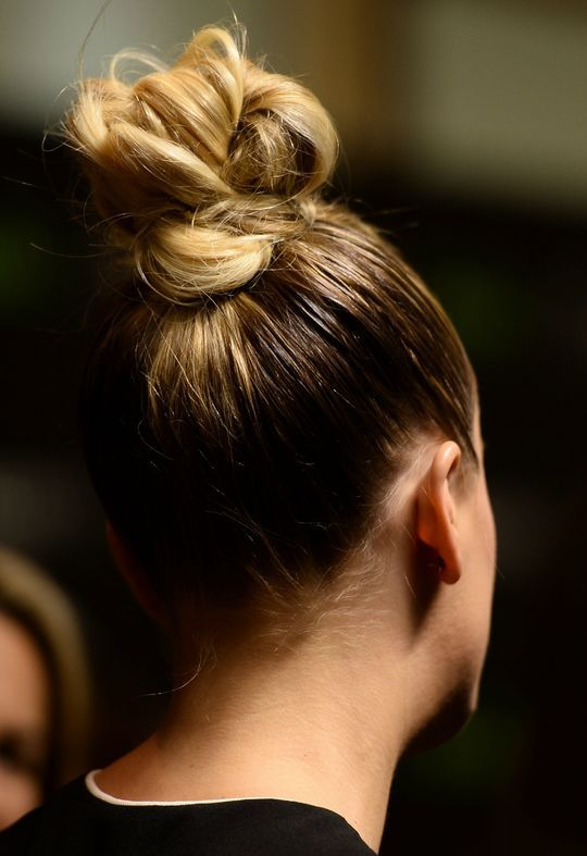 Kaley Cuoco's cool knot is a hairstyle we LOVE for fall - click for more pic...