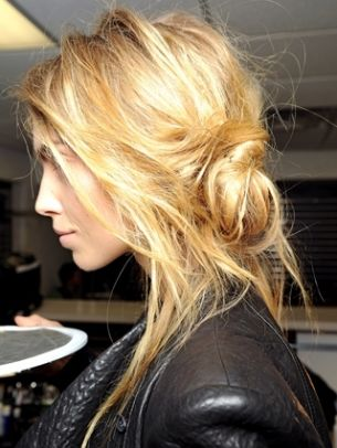 Messy and loose low bun
