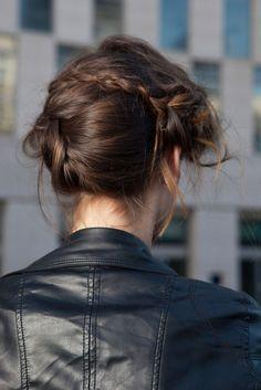 Messy braid + leather jacket combo
