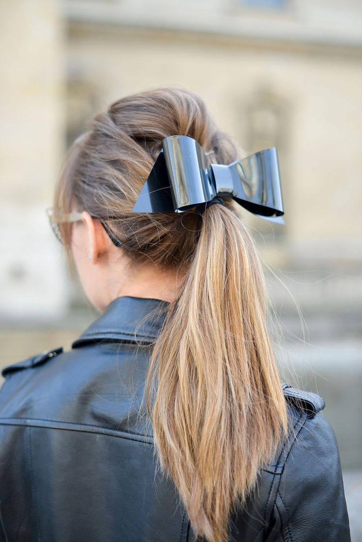 This modern bow hair accessory looks great styled with an edgy leather jacket | ...