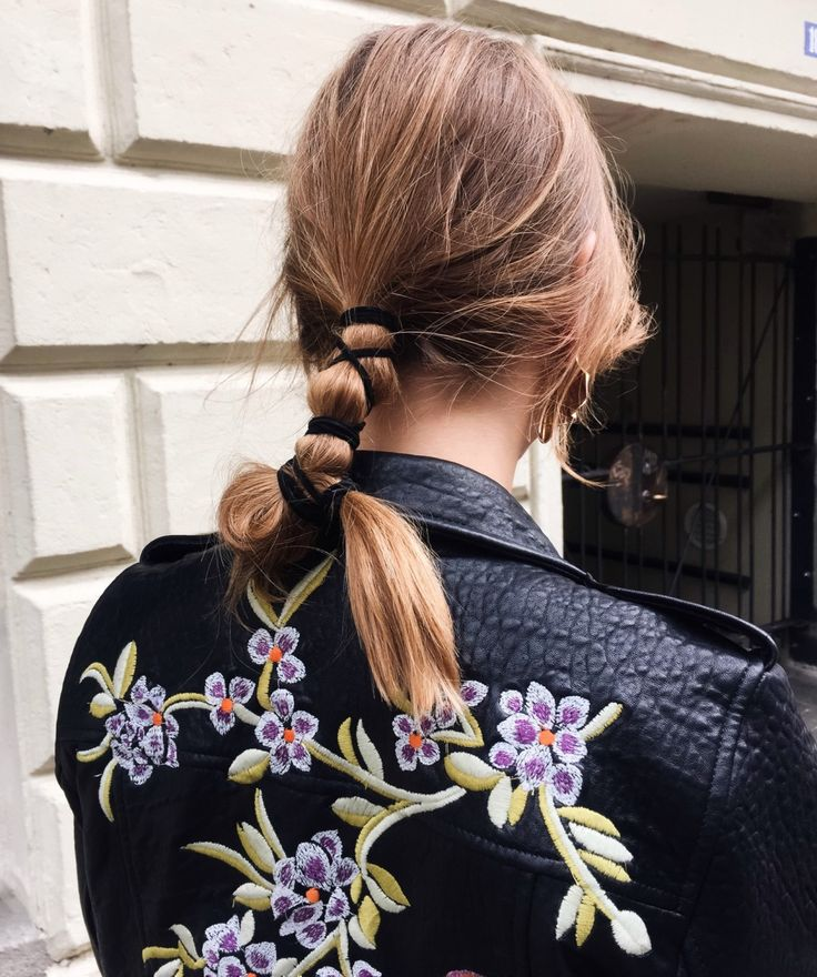 Tied, wrapped and knotted easy pony hairstyle