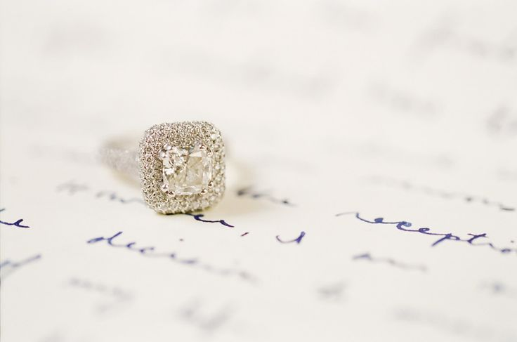 Beautiful square-cut engagement ring: www.stylemepretty...