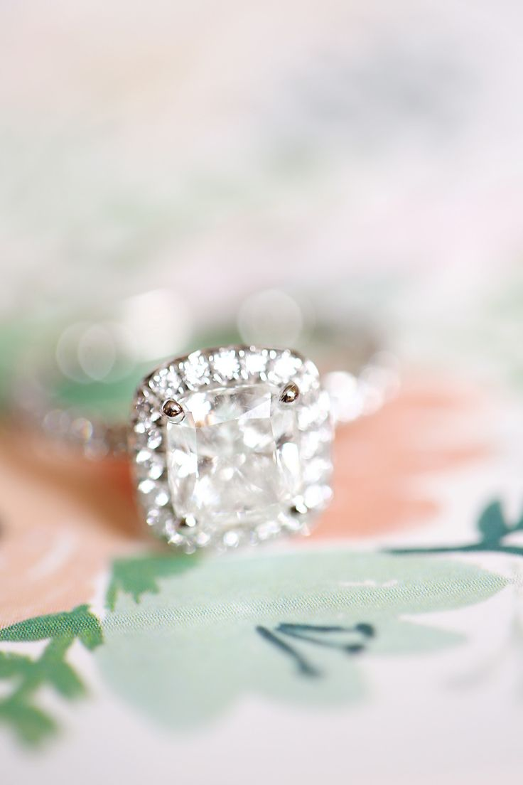 Cushion cut engagement ring | Read More: www.stylemepretty... | Photography: Kay...