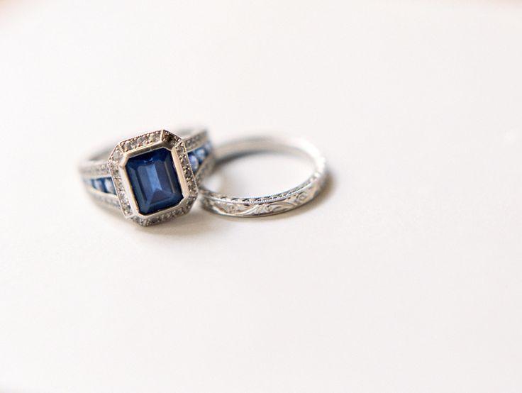 Emerald cut sapphire & Chamfer edged diamond halo: www.stylemepretty...