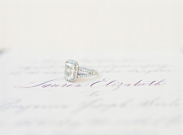 Emerald cut with a square diamond halo: www.stylemepretty... | Photography: Jess...