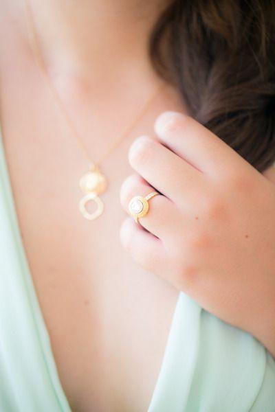 Gold setting for a beautiful diamond: www.stylemepretty... | Photography: Sara W...