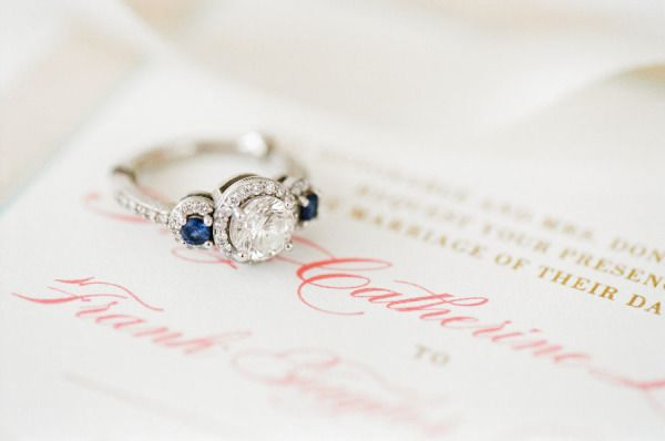 Gorgeous engagement ring flanked by 2 emeralds: www.stylemepretty... | Photograp...