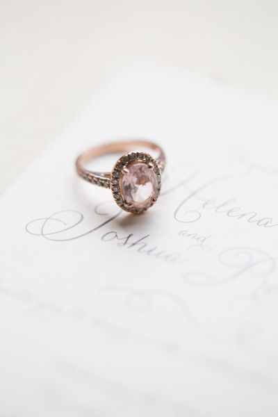 Rose gold and pink diamond engagement ring: www.stylemepretty... | Photography: ...