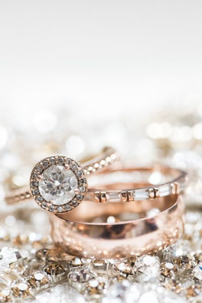 Round cut, gray diamond halo, and rose gold setting: www.stylemepretty...