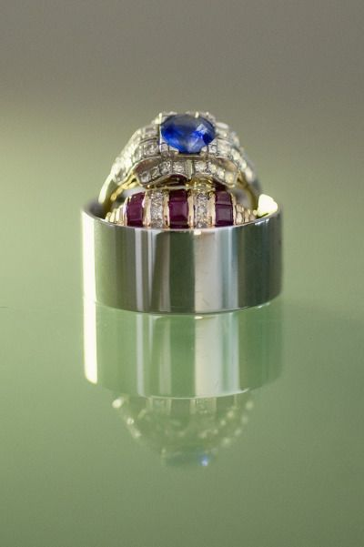 Sapphire and ruby engagement ring and wedding band: www.stylemepretty... | Photo...