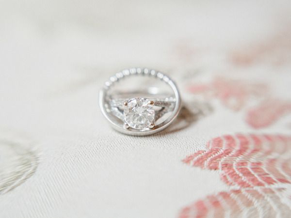 Solitaire cut engagement ring: www.stylemepretty... | Photography: Laura Leslie ...
