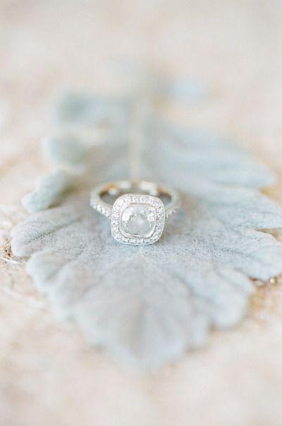 Cushion Cut Center & Diamond Halo & White Gold: www.stylemepretty...