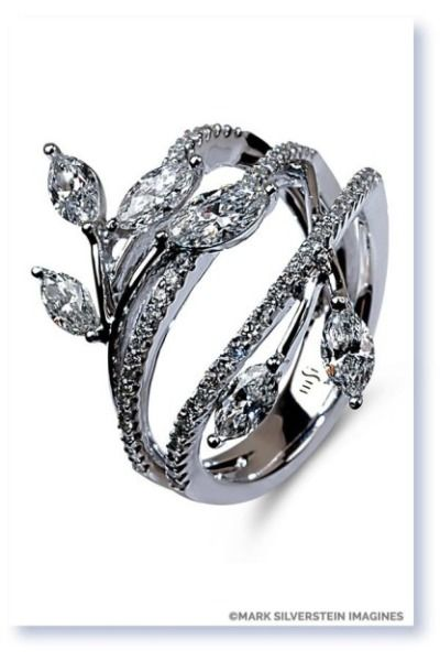 This vines and leaves engagement ring from Mark Silverstein Imagines is so capti...