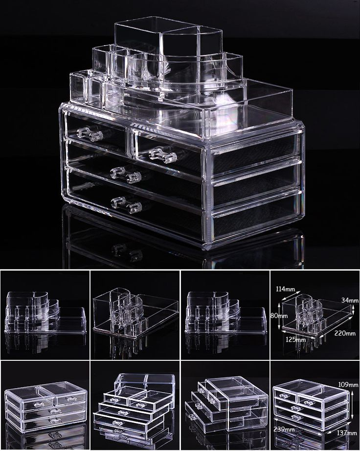 Cosmetic Organizer Makeup Drawers Display Box Acrylic Clear Cabinet Case Set | e...