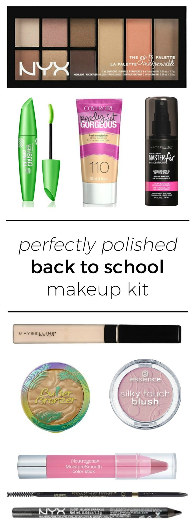 The perfect back to school makeup kit featuring affordable drugstore makeup + th...