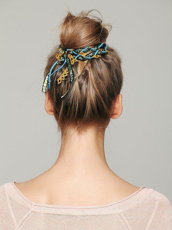 Braided fabric bun hair wraps