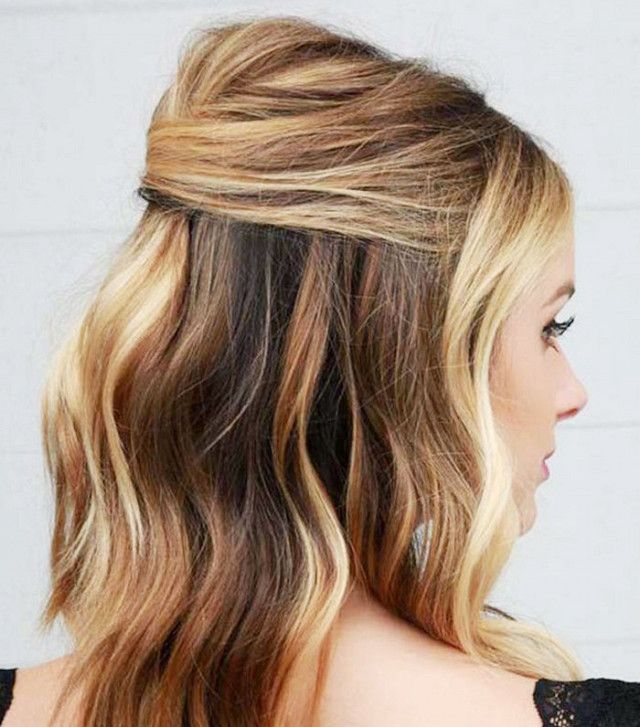 A half-up do with a little extra volume