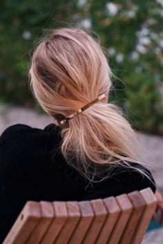 a ponytail with a barrette