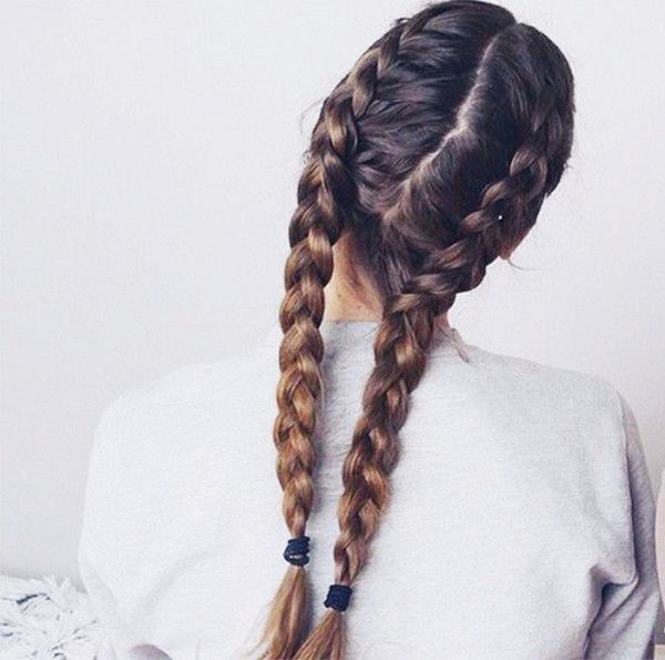 French braid pigtails