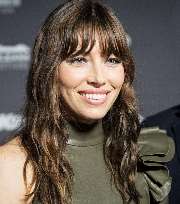 Jessica Biel's wispy bangs and sultry waves are so beautiful