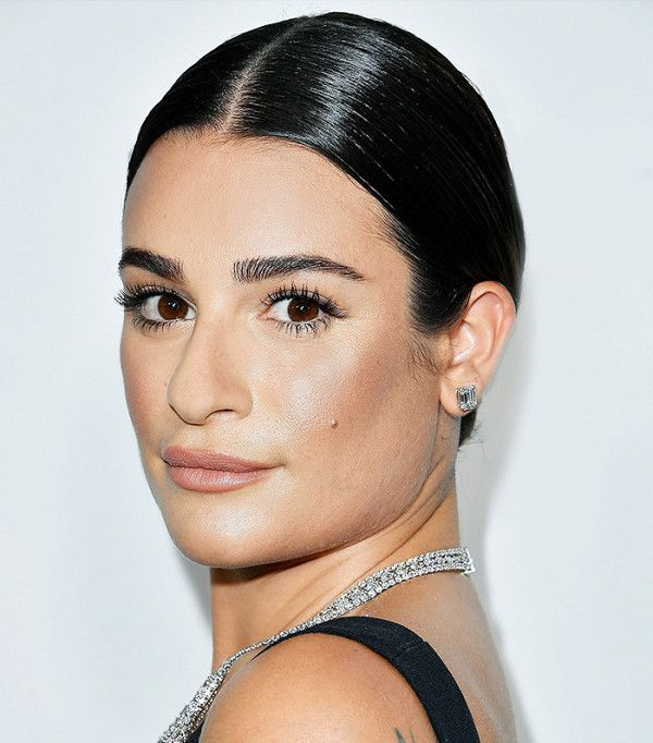 Lea Michele's sleek bun is on point