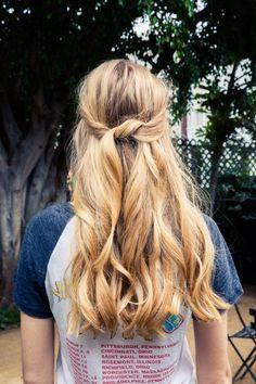 Looped half-up hair | coveteur.com