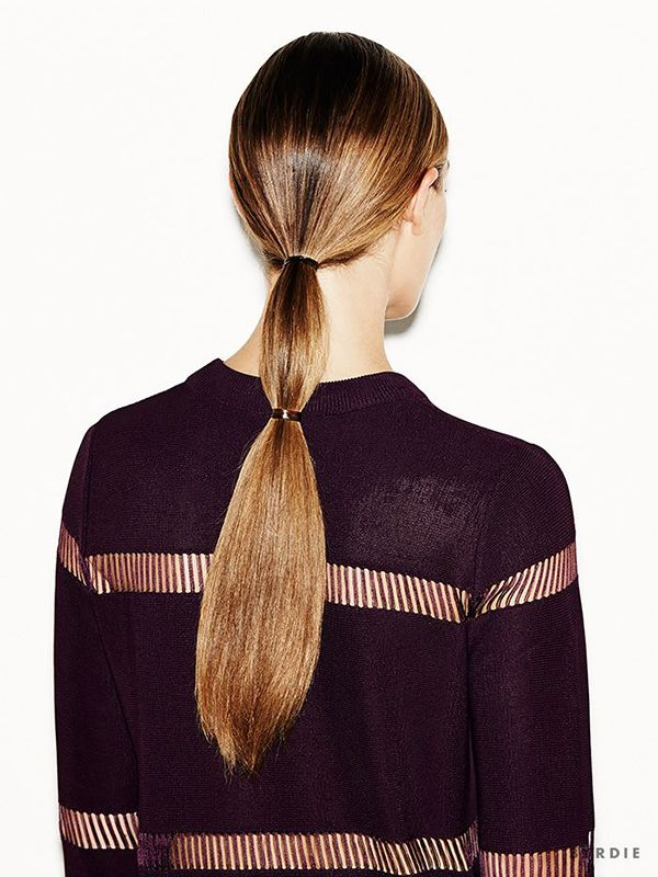 Loving this sleek double ponytail