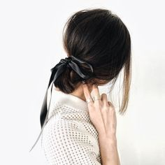 Ribbon tied hair