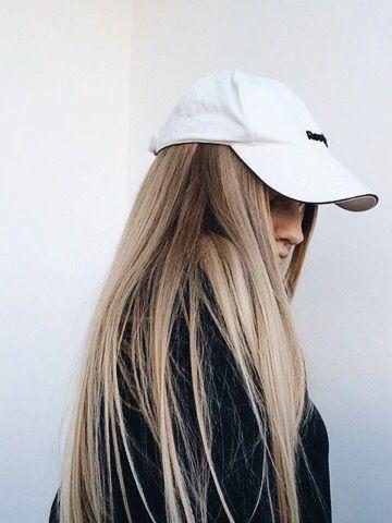 Super straight hair and baseball hat