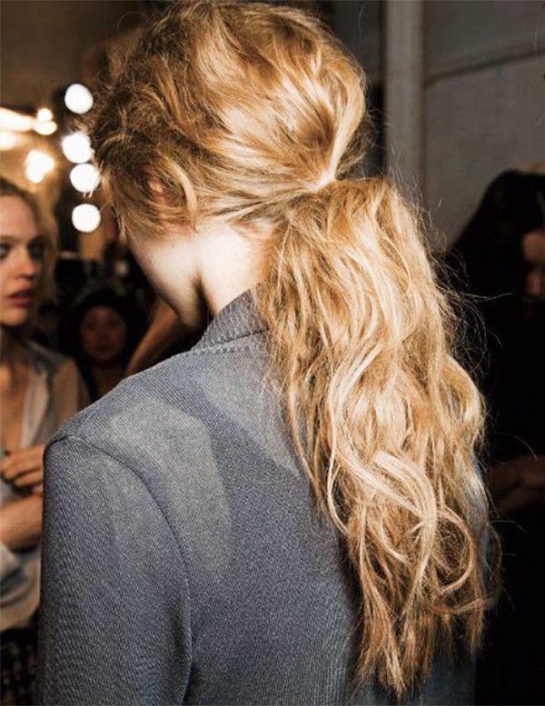 Teased low ponytail
