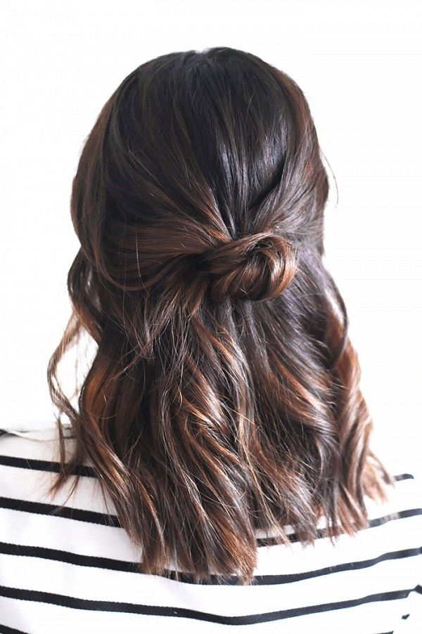 The half-up knot is a chic, and simple hairstyle that can be recreated in under ...