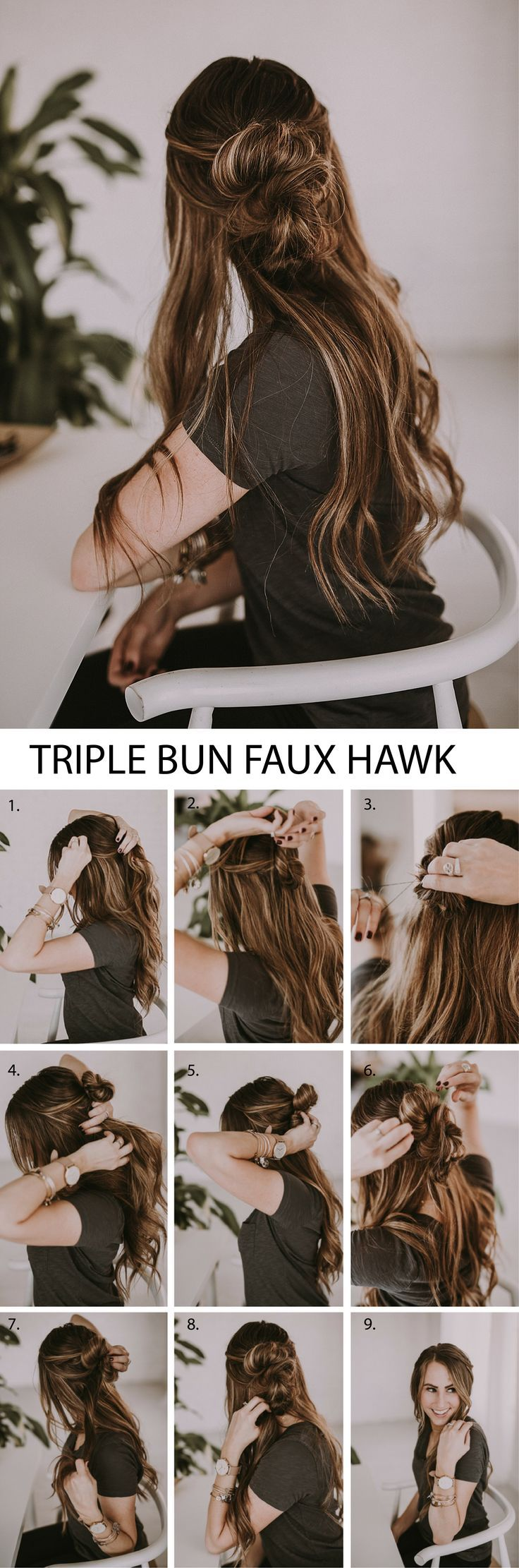 The perfect triple bun faux hawk for running errands or a date night! This is si...