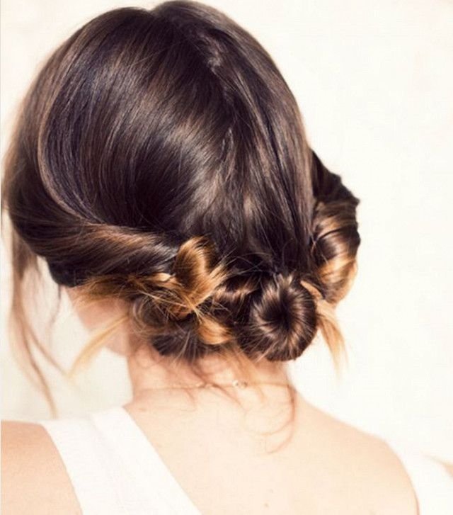 These twisted buns look perfect on short or long hair