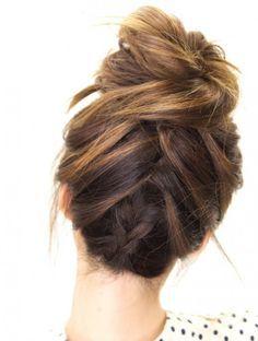 Tuxedo braid messy bun is a must-try.