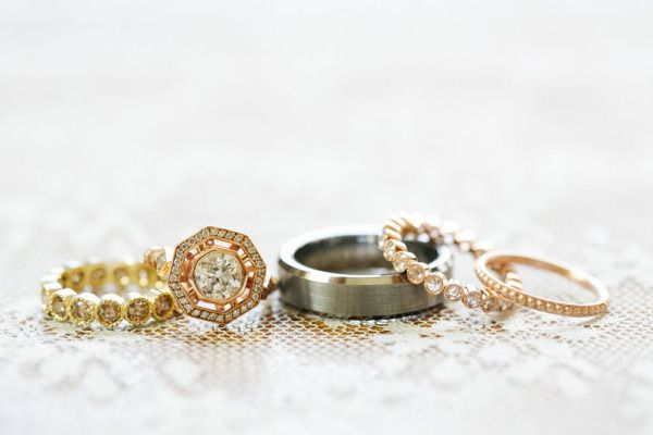 a line-up of sparkling #wedding #rings Photography by www.carolinetran.net  Read...