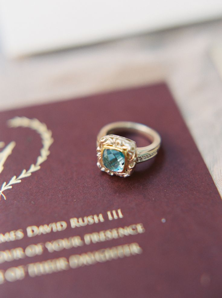 colored gemstone blue green aqua vintage engagement ring gold setting | Photogra...