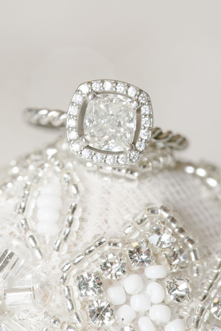 Cushion cut engagement ring | Read More: www.stylemepretty... | Photography: Ama...