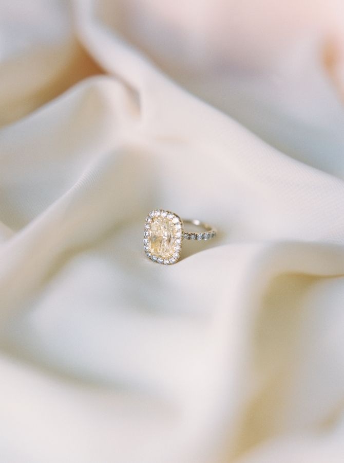 Dreamy canary diamond engagement ring: www.stylemepretty... | Photography: Apryl...