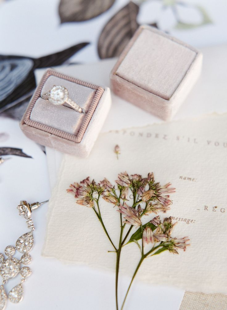engagement ring romantic stationery velvet ring box | Photography: Lance Nicoll