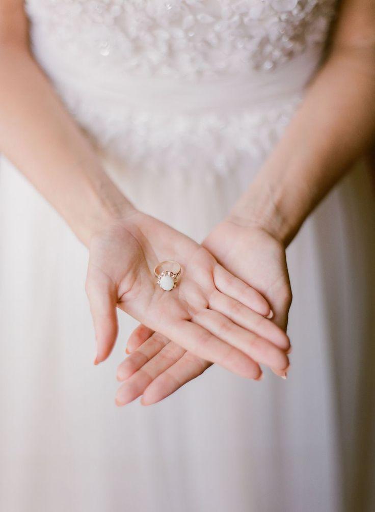 Gold and white stone engagement ring: Photography: Peter & Veronika - peterandve...